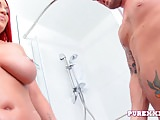 PURE XXX FILMS Hot Busty Redhead banged in the shower