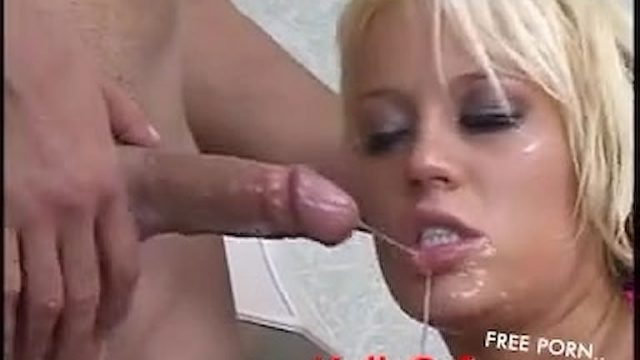 Sexy blond in pink deep throats big cock