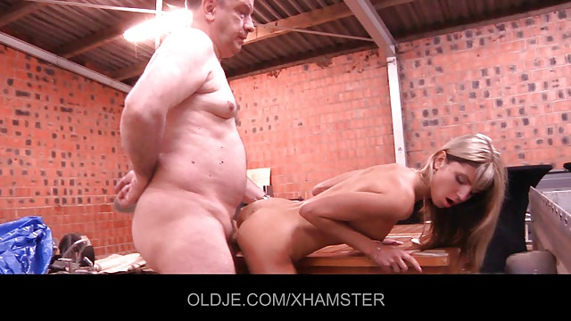 Young Gina pays the old debt collector with fuck