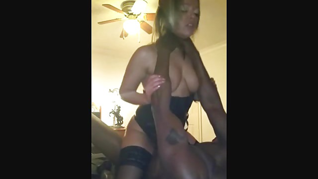 Wife tastes black cock while husband records her